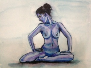 Blue Nude - figure study of naked lady, watercolour