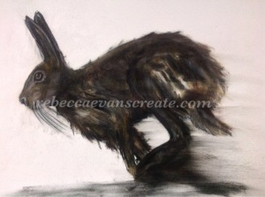 Large charcoal hare on mount board 'shadow in the darkness'