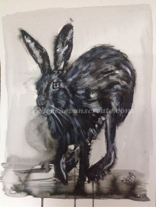 Brush and Indian ink running hare