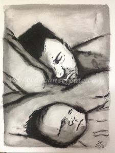 Blessed Beginnings Indian ink and brush Depicting a first born with father