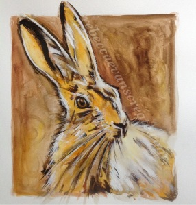 Abstract watercolour hare ''lucus'