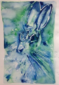 Abstract Watercolour hare -'out of the blue'