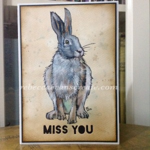 Miss you card, watercolour hare