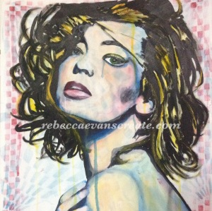 'Rough diamond' mixed media comic book style woman