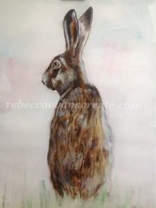 'Misty morning' brown hare watercolour