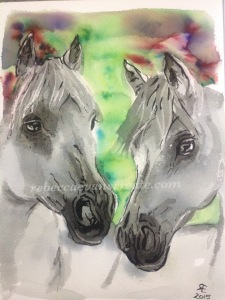 'Eternal' second brusho attempt, quick horses, and candle wax resist, plus Indian ink