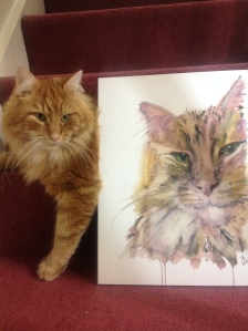 Ginge meets ' Ginge', watercolour painting