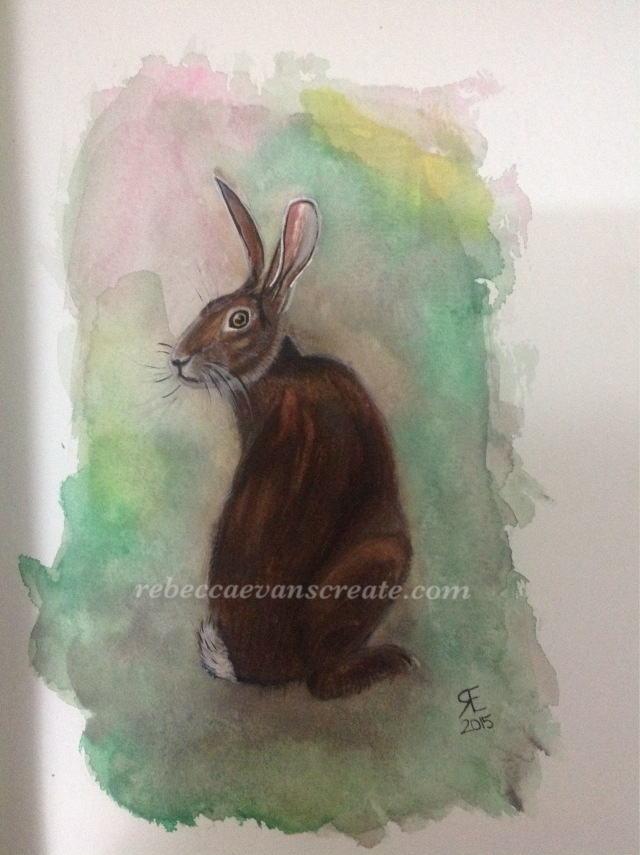 Miniature hare watercolour