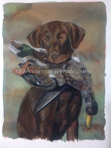 Dog and duck painting