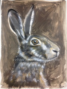 Liquid pencil and watercolour hare painting
