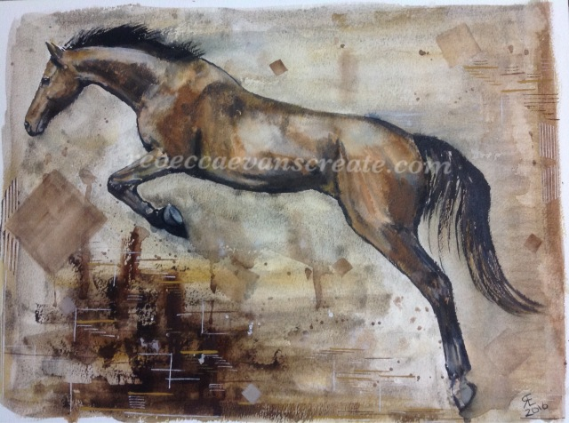 Indian ink and watercolour jumping horse