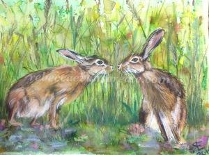 Hares mixed media