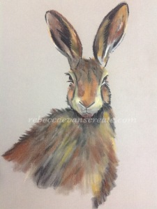 Pastel hare painting