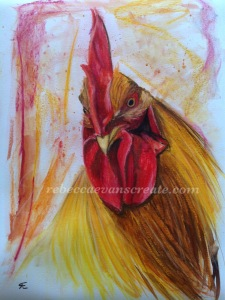 Cock painting watercolour and pastel rebecca evans create art