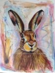 Watercolour and pastel hare painting rebecca evans create art