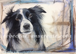Dog in watercolour and pastel painting, rebecca evans create art