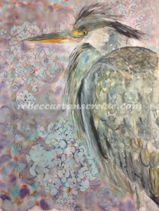 Yupo paper, alcohol ink and watercolour heron