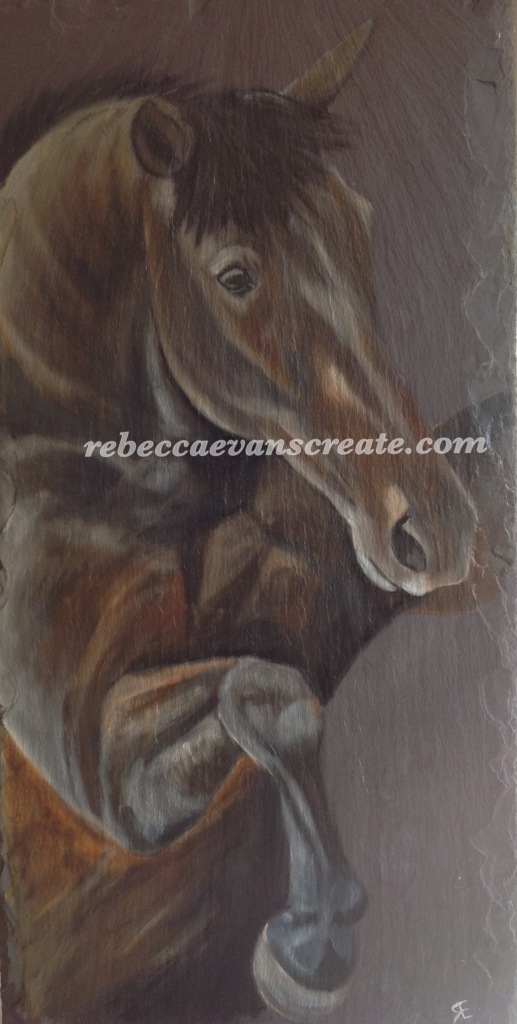 Oil painting of horse on natural slate