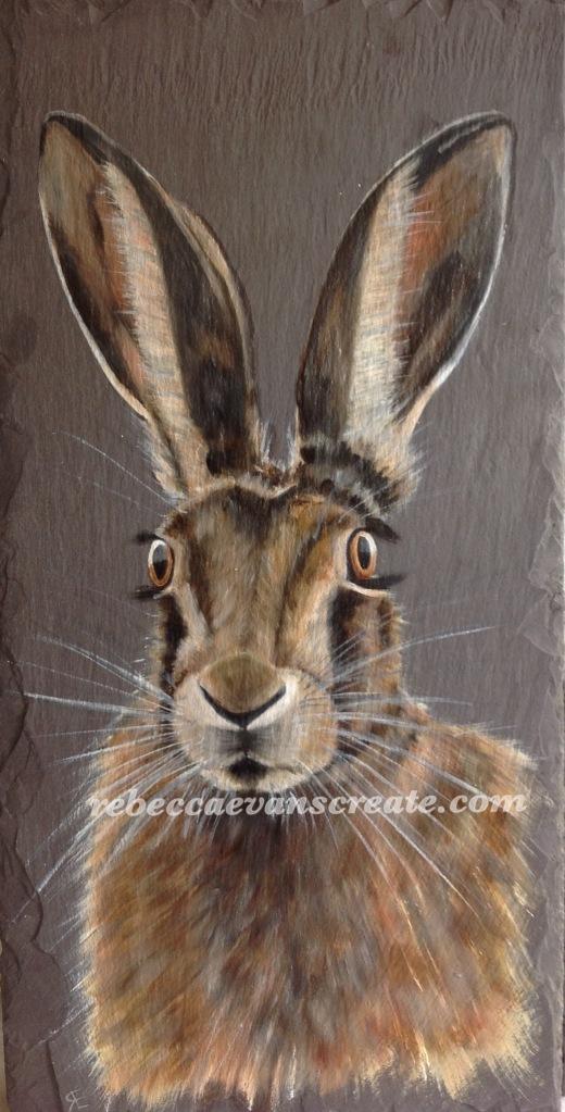 Hare oil painting on slate 'Honister' Rebecca evans create art