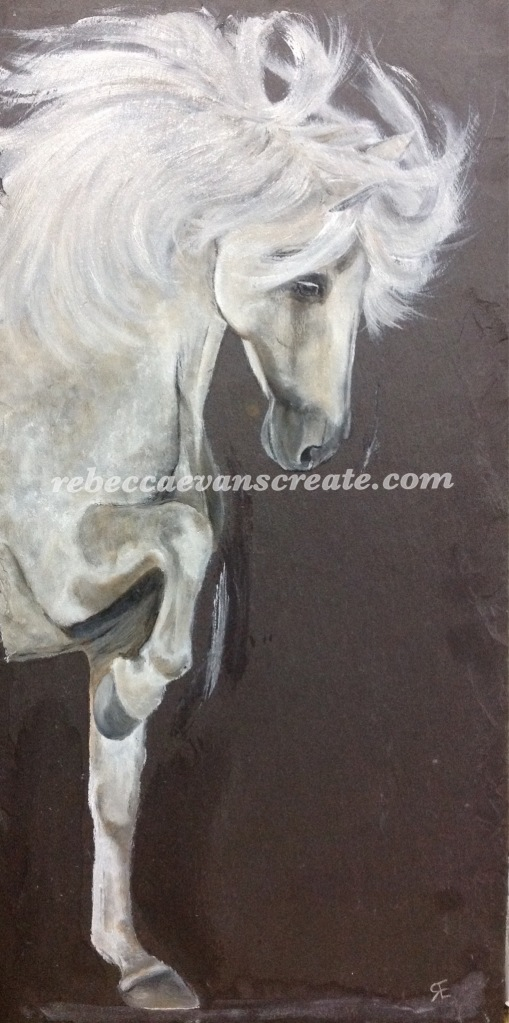 'Yin yang' horse oil painting on natural slate tile Rebecca evans create art