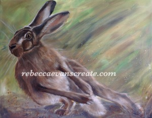 'Hightail it' oil hare on canvas, photo reference with thanks from Mike Rae.Rebecca evans create art
