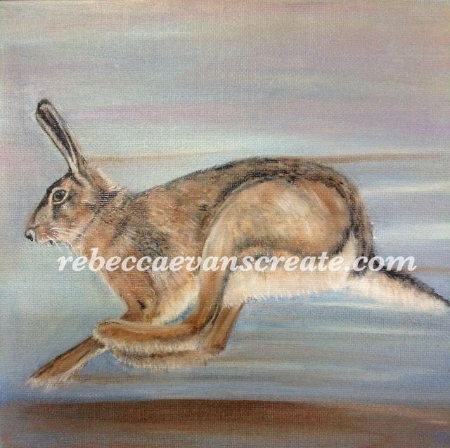 'Hoping alone' oil painting on canvas, hare 20cmx20cm