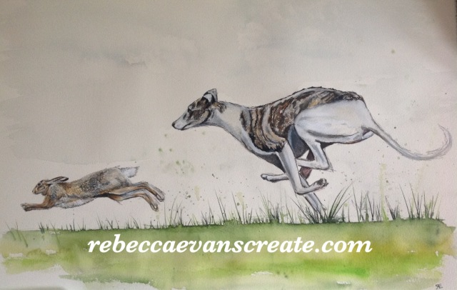 Rebecca evans create art 'Hare-raising encounter' hare and hound ink and watercolour.38x56 cm arches