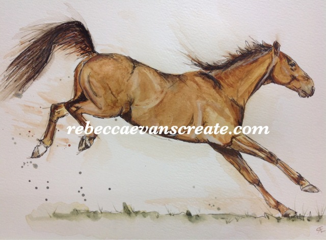 'Chico' ink and watercolour A4 Rebecca evans create art