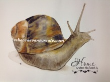 "' home is where the heart is' watercolour snail 12x16"" cold press 140 lb"
