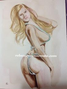 Lady in bikini, figure study in watercolour cold press A4 140lb