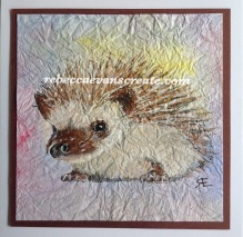 Watercolour hedgehog on masa paper