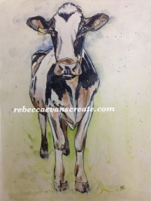 'Flossie the milker' permanent pen and watercolour