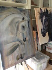Oil paintings drying