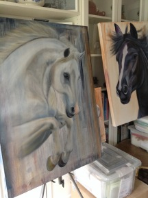 Oil paintings drying