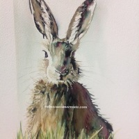 'An elegant lady' hare painting
