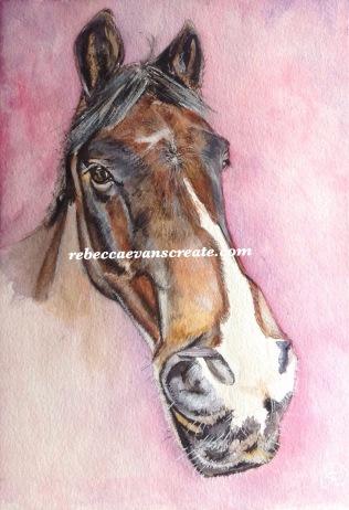 """'Chilling' watercolour 10x7"""" 140 lb coldpress fortune centre pony William"""