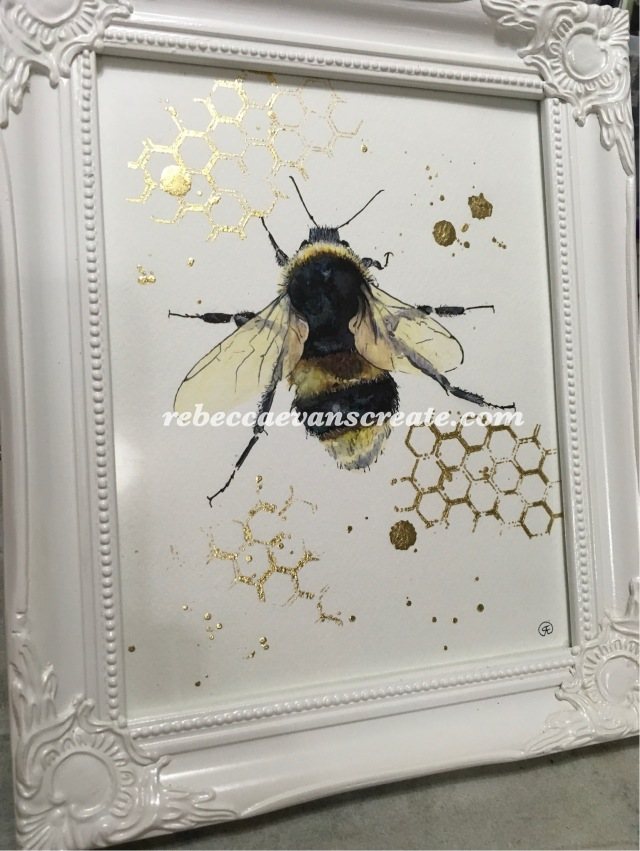 'Hunting for gold' 20x25cm 140lb coldpress, ink and handmade watercolour paint, plus gold leaf, framed