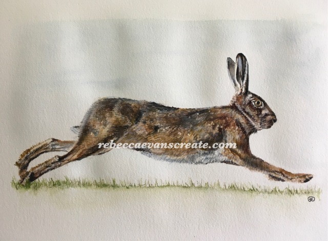 "'Run, run, run' watercolour 10x14"" 140lb coldpress image size A4"