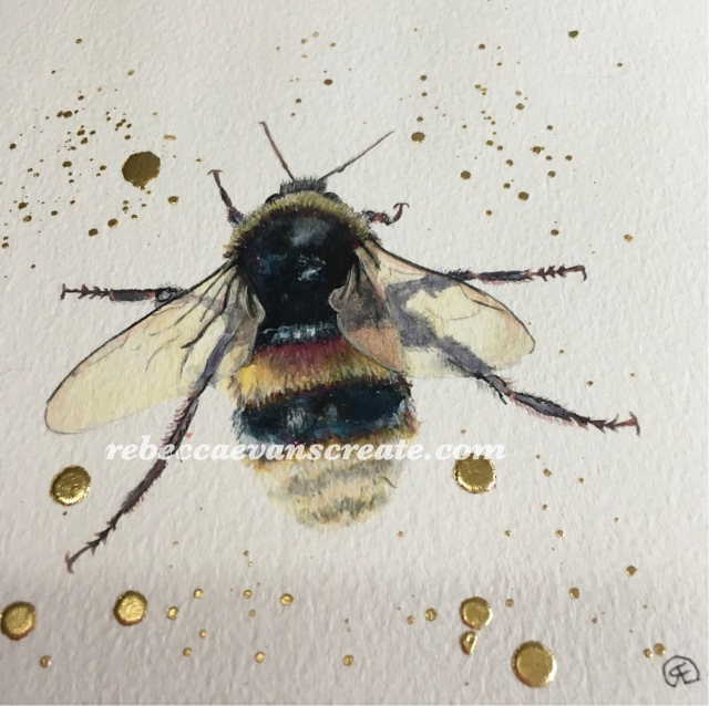 'Bee busy, hand made watercolour and gold leaf