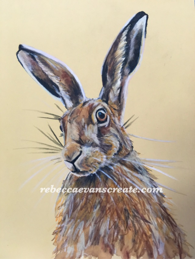 'Harvest hare' 18x24 cm pastel mat board clairefontaine. Pastel and coloured pencil