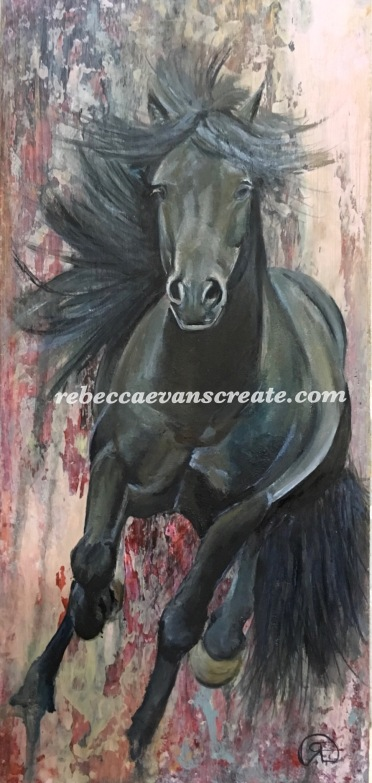 Oil painting study of horse cantering