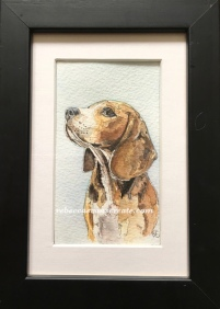 Mini beagle painting ink and watercolour