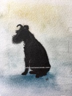 Mini silhouette dog, ink and wash