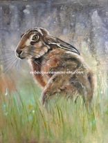 Oil painting of hare